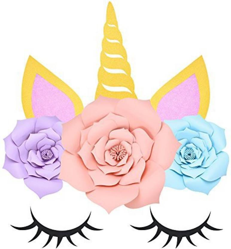 Satinior Unicorn Pattern Wall Decor Paper Flower Backdrop With
