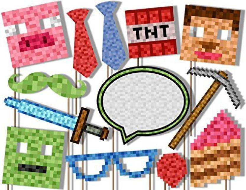 Birthday Galore Mining Pixel World Photo Booth Props Kit 20 Pack