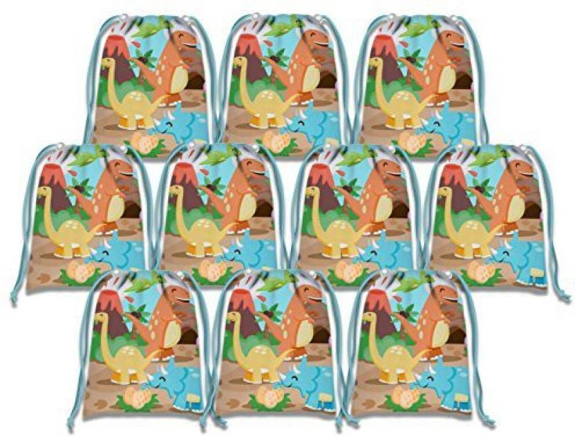 Birthday Galore Little Dino Dinosaur Drawstring Bags Kids Party Supplies Favor 10 Pack