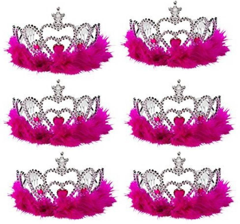 Blue Panda Princess Tiara - 6-Pack of Feather Dress-up Crown