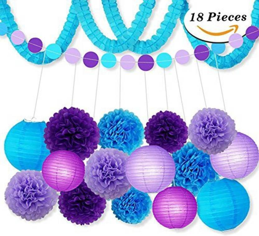 Sopeace Party Decoration Kit Purple Blue Tissue Paper Pom Poms Flowers Papers Lanterns Circle Garland Birthday Wedding Christening Froze - Party Decoration ...