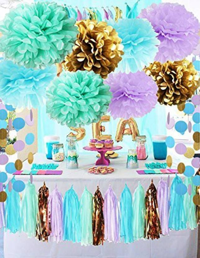 Qians Party Under The Sea Supplies Mermaid Decorations Tissue Pom Poms Paper Garland For First Birthday