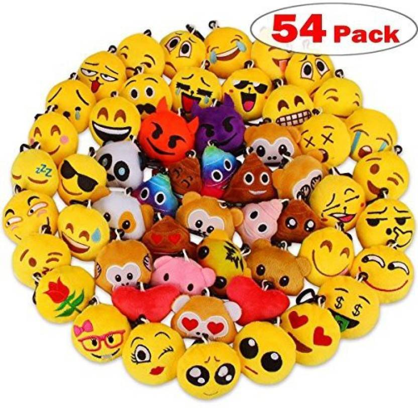 Dreampark Emoji Party Favors Keychain 54 Pack Mini Plush Poop