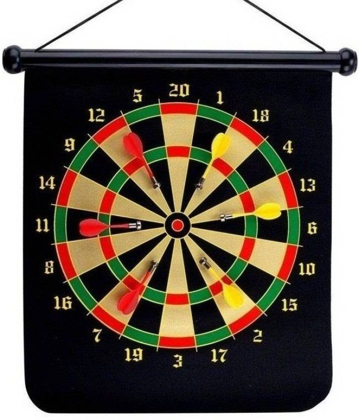 Me 15 Inch Roll Up Double Sided Magnetic Dart Board With 4 Darts