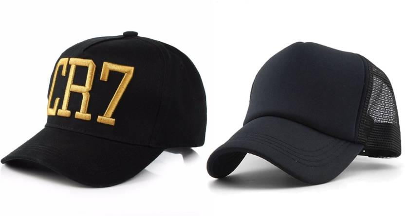 eecb47573ee AWZOME Combo Stylish Black Cotton   Black Netted Mesh Baseball Cap (Pack of  2)