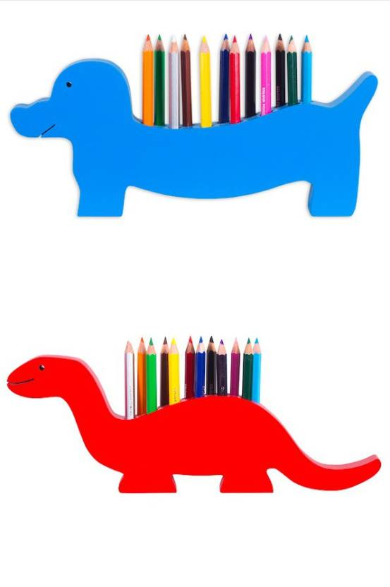 183acf63f The Kiddy Depot 24 Colour Pencils With 2 Wooden Colour Pencil Stands (Dino  & Dog ) for Kids Hexagon Shaped Color Pencils (Set of 26, Multicolor)