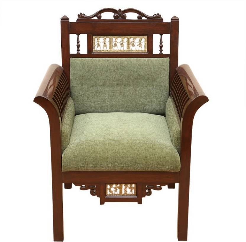 Exclusivelane Elegant Dhokra Work Teak Wood Maharaja Sofa Cum