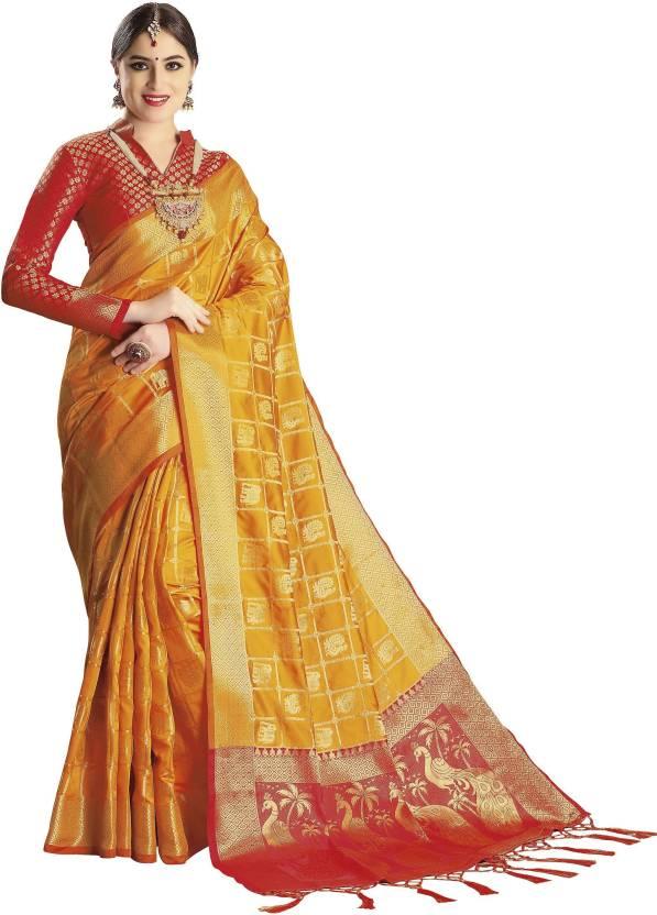 3fdf368770 Buy EthnicJUnction Woven Banarasi Silk Yellow Sarees Online @ Best ...