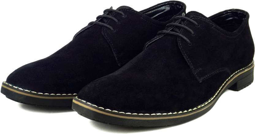 833aa24fad3d Dockstreet Ripley Series Genuine Suede Leather Derby Shoes Brogues For Men  (Black)