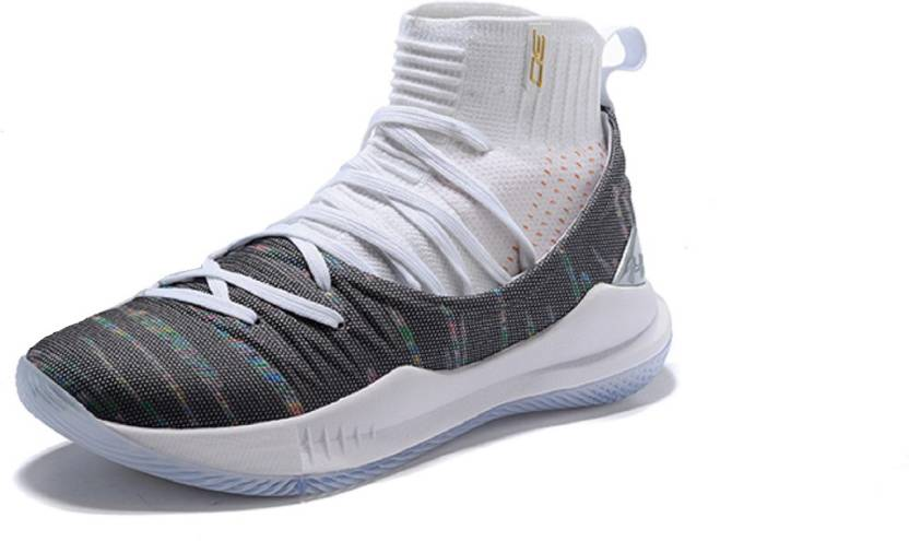 the Under armour UA Curry 5 White Grey Basketball Shoes For Men (White de089ace607e