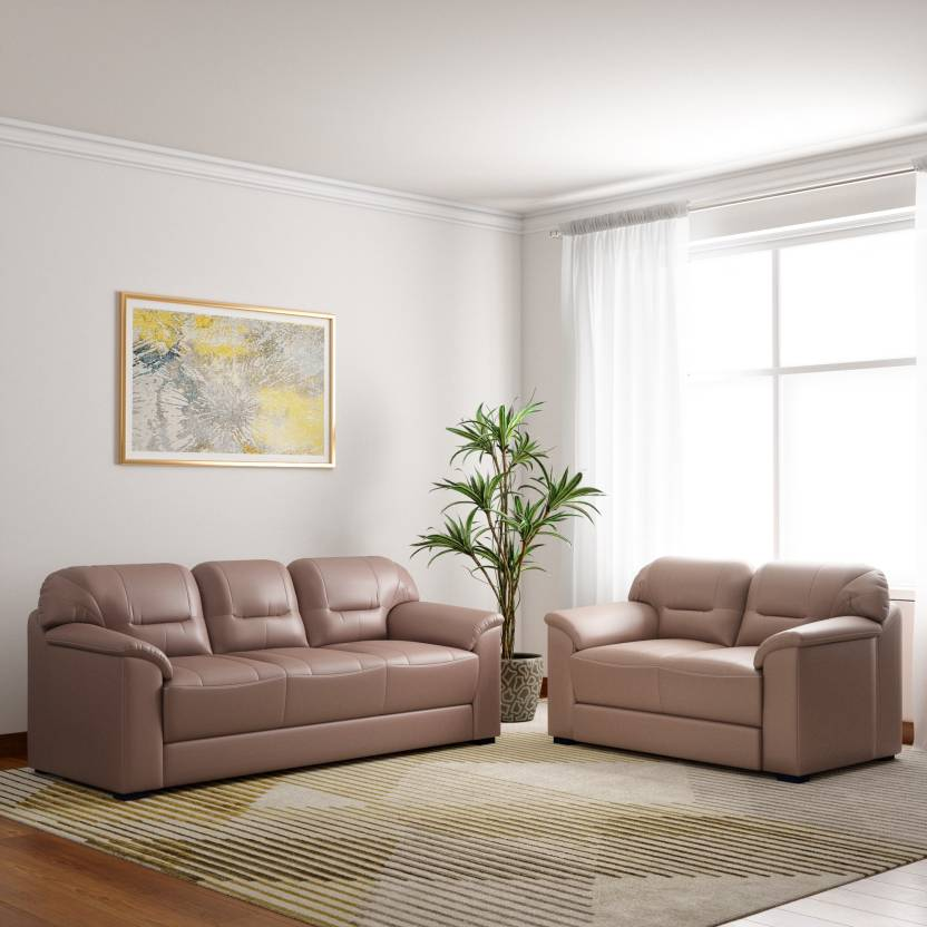 Muebles Casa Croma Leatherette 3 2 Tan Brown Sofa Set Price In