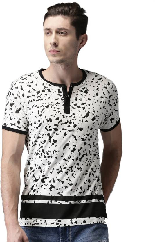 07424148b HERE&NOW Printed Men Henley White T-Shirt - Buy HERE&NOW Printed Men Henley White  T-Shirt Online at Best Prices in India | Flipkart.com