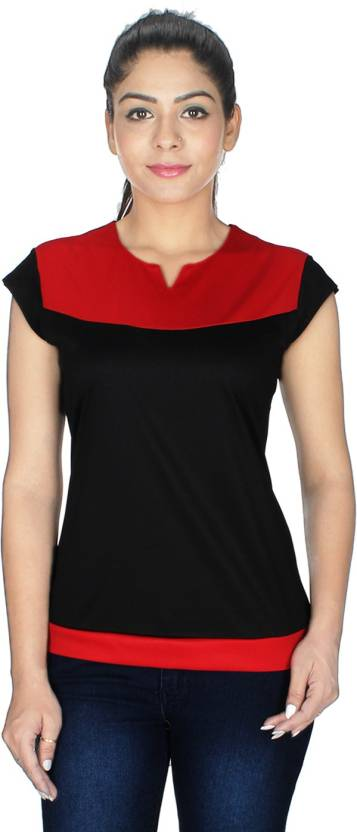 8f84fe1fa7d SDM Casual Cap Sleeve Solid Women s Red
