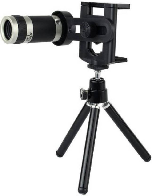 Tygot 8X Zoom Universal Mobile Phone Telescope Camera Lens & Tripod+Adjustable Holder Tripod (Black, Supports Up to 200 g) Tripod Kit (Black, Supports Up to ...