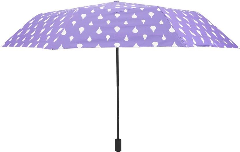 Color Changing Umbrella Portable 3-Fold Rain Drop Travel Compact Printed UV Coat