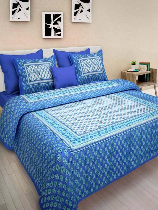 55cdb404627b Jaipuri Print 280 TC Cotton Double King Floral Bedsheet (Pack of 1, Red)