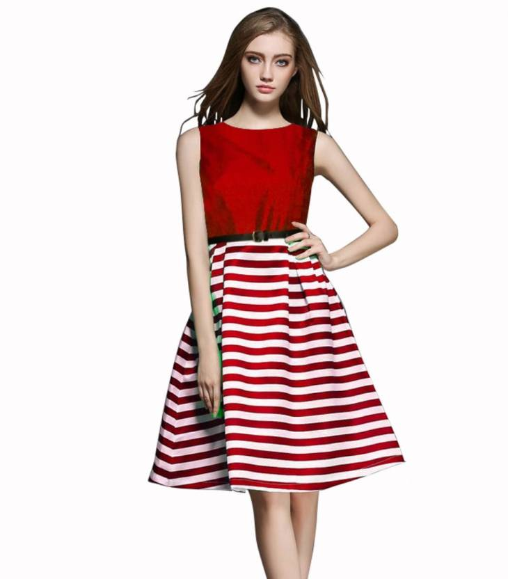 8c576b5b0cba TFASH Women's Fit and Flare Red Dress - Buy TFASH Women's Fit and Flare Red  Dress Online at Best Prices in India | Flipkart.com