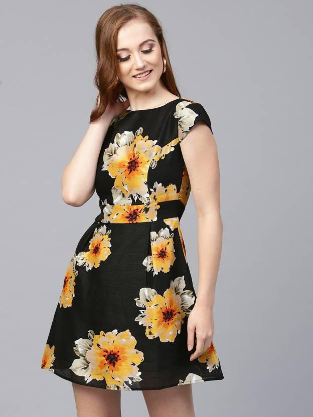 8f1097af56405 Sassafras Women's Skater Black, Beige, Yellow Dress - Buy Sassafras ...