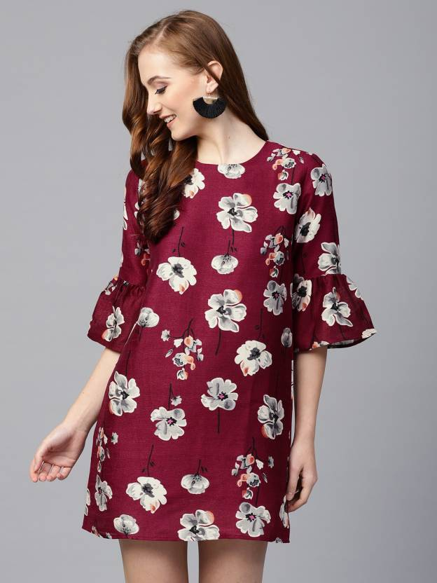48e624c81e Sassafras Women's Shift Maroon, Black, White Dress - Buy Sassafras Women's  Shift Maroon, Black, White Dress Online at Best Prices in India |  Flipkart.com