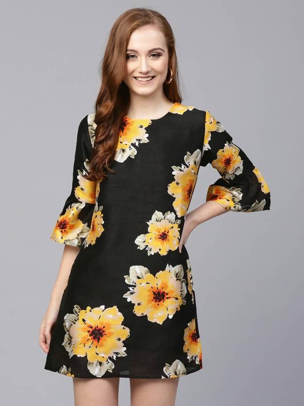 bcbce6245f359 Sassafras Women's Shift Black, Beige, Yellow Dress - Buy Sassafras ...