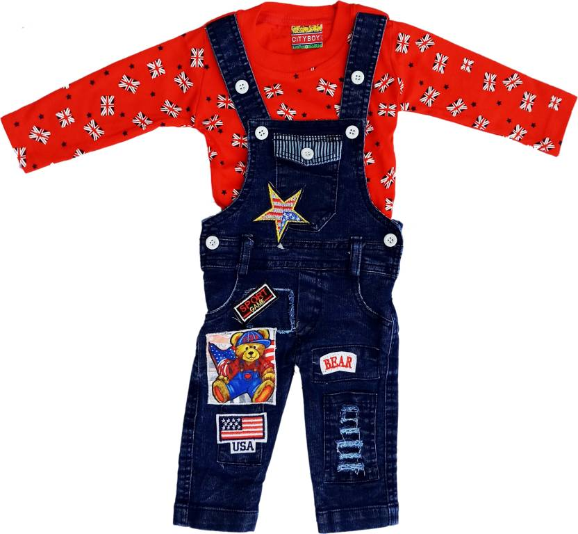 eb48bae29 City Boy Kids Wear Dungaree For Boys Party Printed Denim (Red, Pack of 1)