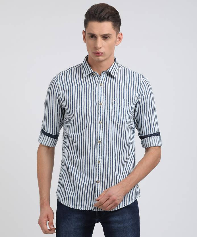 031dec5c Lee Cooper Men's Striped Casual White Shirt - Buy OFF WHITE Lee Cooper Men's  Striped Casual White Shirt Online at Best Prices in India | Flipkart.com