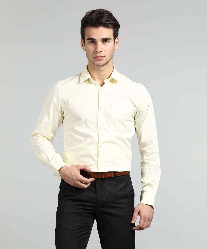 26902e196ba1 Peter England Men Solid Formal Yellow Shirt - Buy Peter England Men Solid  Formal Yellow Shirt Online at Best Prices in India