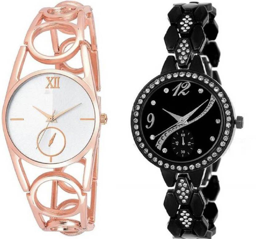 d9d185e1827 Lifetime latest attractive combo of two black and rosegold metal belt  girl s wrist watch for girls