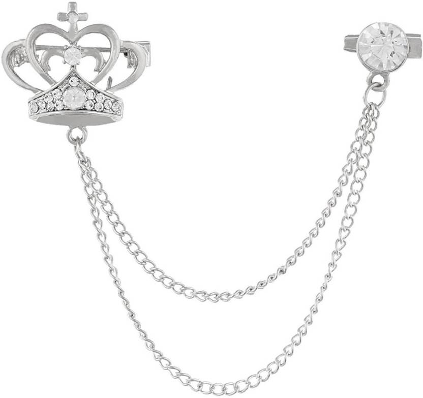 8e7c9f47a Gadgetsden Men's Corsage Lapel Chain Pin Brooch Crown Silver Suit Shirt  Double Tassel Long Chains Brooch (Silver)
