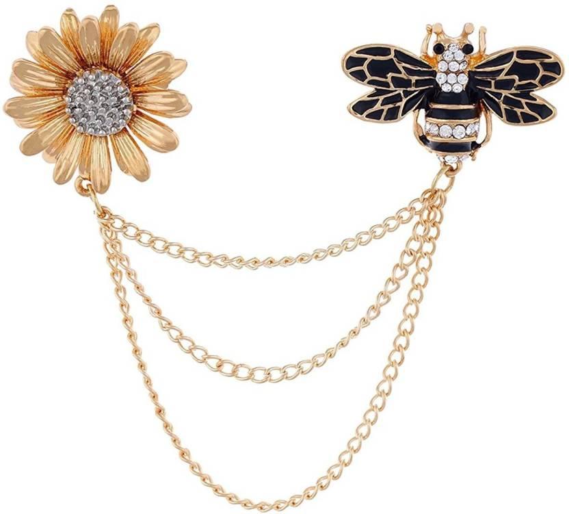 Gadgetsden Men's Corsage Lapel Chain Pin Flower & Honey Bee