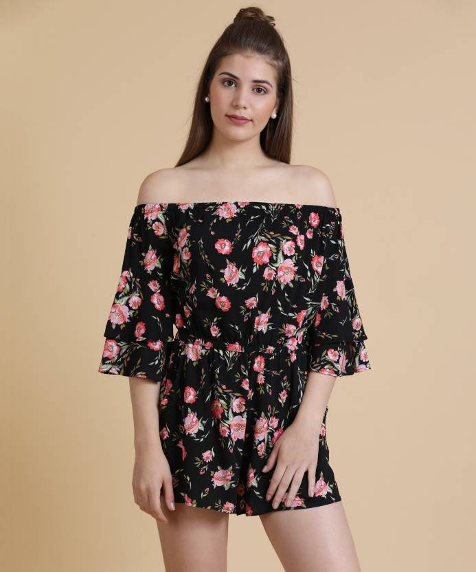 e9261ca29031 Forever 21 Floral Print Women's Jumpsuit - Buy BLACK/PINK Forever 21 Floral  Print Women's Jumpsuit Online at Best Prices in India | Flipkart.com