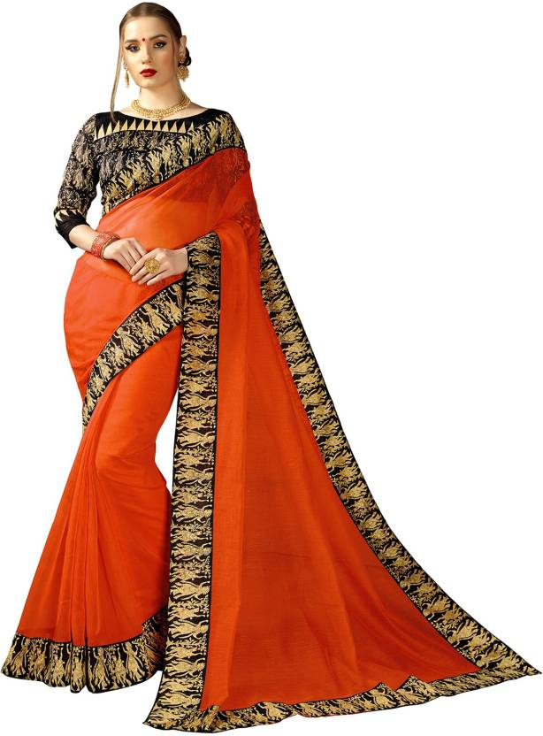 8d667a465b Buy Sariya Printed Kalamkari Kota Silk Orange, Black Sarees Online ...