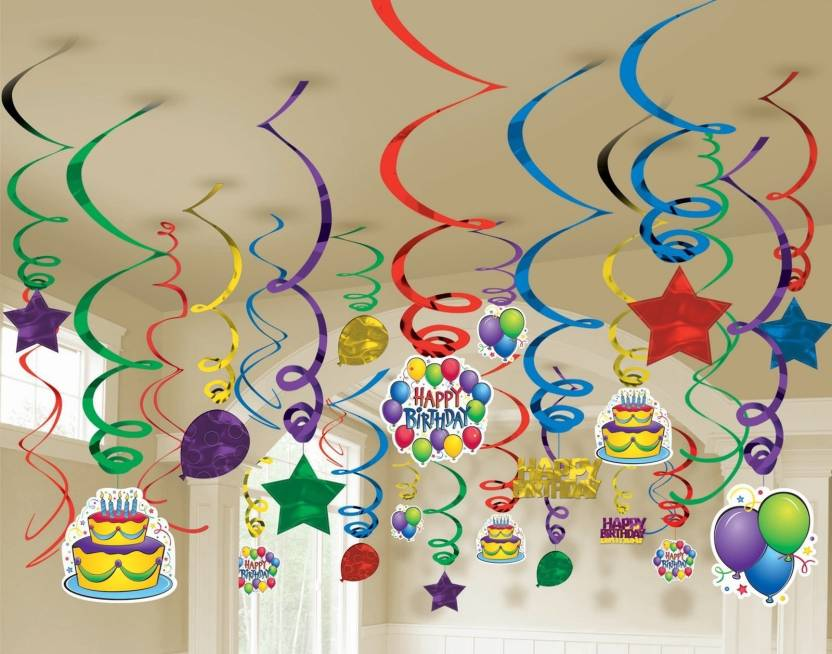 Factory 21 Multicolor Multi color Swirls pack of 12 /Birthday party  decoration/Baby shower etc    All swirls with hanging cutouts like cake,  joker,