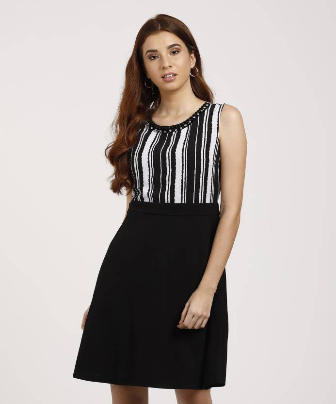 197d757ce7bb Deal Jeans Women s A-line Black Dress - Buy BLACK Deal Jeans Women s A-line  Black Dress Online at Best Prices in India