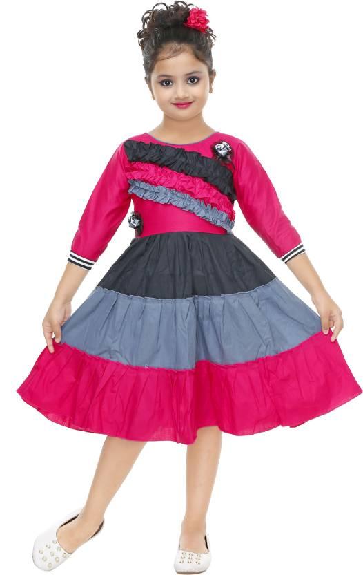 46f7e93a9ad6 N BAHUBALI Girls Midi/Knee Length Casual Dress (Multicolor, 3/4 Sleeve)