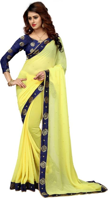 75714d94a5ad9 Buy Green Garden Photo Art Solid Bollywood Georgette Yellow Sarees ...