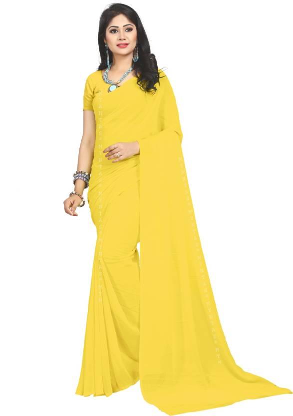 c7d624f147 Buy MYNTAS DXL Plain Bollywood Faux Georgette Yellow Sarees Online ...