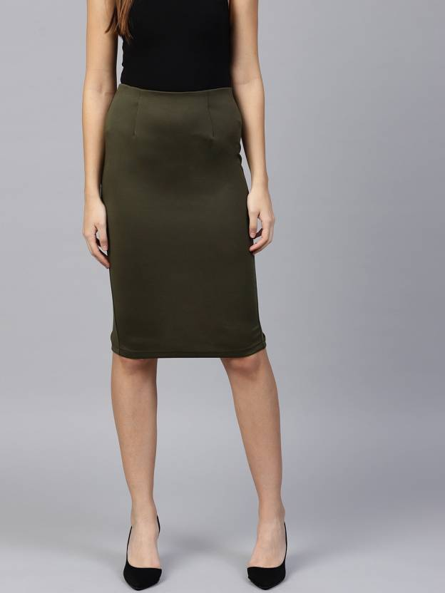 aab05f2f1 Sassafras Solid Women's Pencil Green Skirt - Buy Sassafras Solid ...