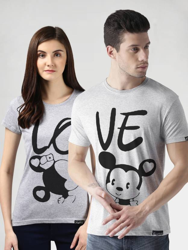 685724fc Young Trendz Typography, Graphic Print Men & Women Round Neck Grey T-Shirt  (Pack of 2)