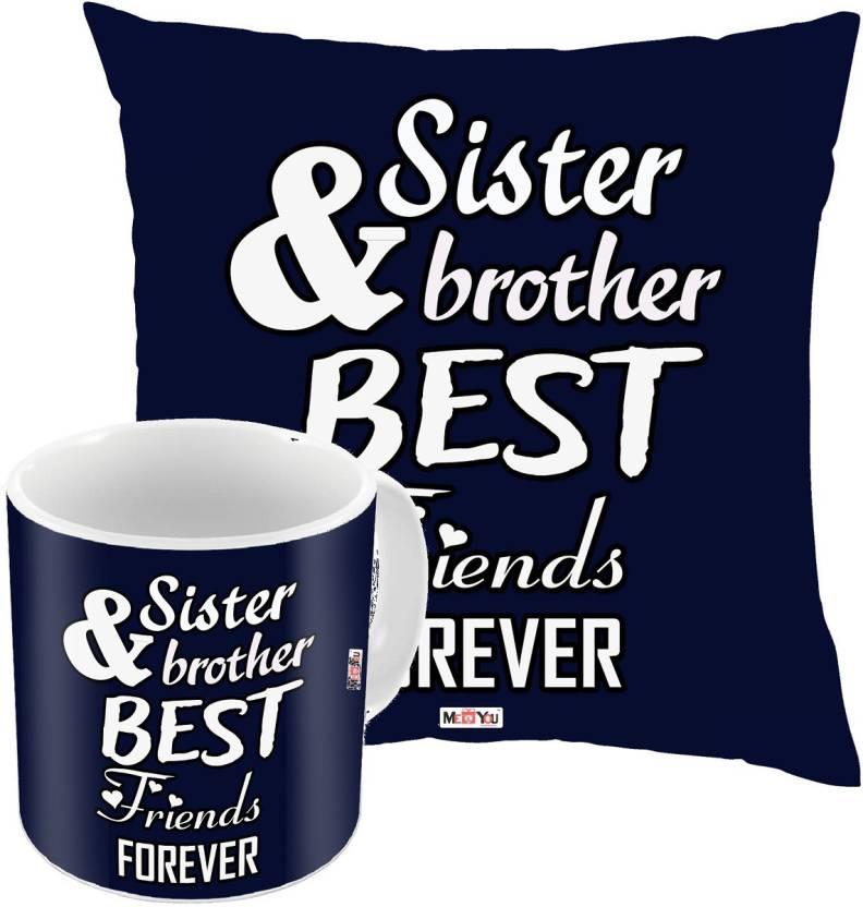 MEYOU Bhaidooj Gifts Rakhi Birthday Anniversary For Brother IZ18DTCM 445 Cushion Mug Gift Set Price In India