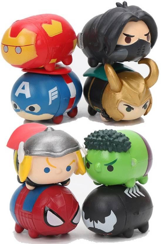 timeless design 7eee7 b9235 Toy Mela 8 Pcs.   Set Marvel Avengers Tsum Tsum Infinity War Spiderman,  Wolverine, Loki, Hawkeye, Iron Man, Captain America, Hulk, Black Panther  Action ...
