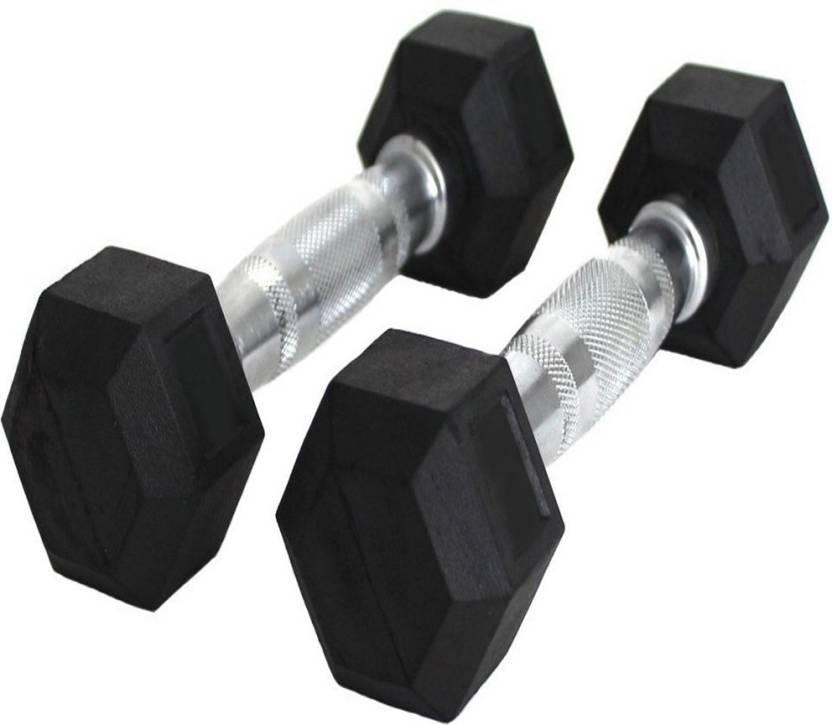 2e3c75deea1 StepInnStore Hexagonal Rubber 10kg (5kg Each) Fixed Weight Dumbbell (10 kg)