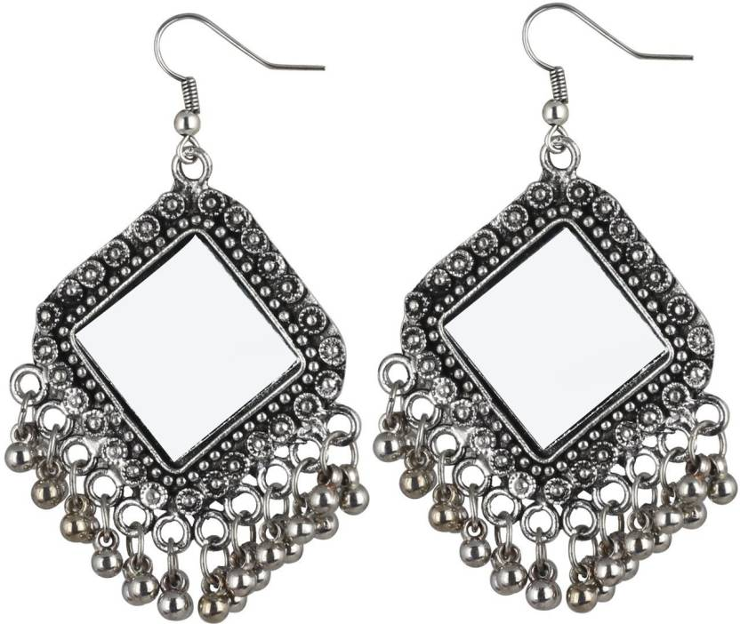 Cemaya Oxidised Silver Mirror Earring For S And Women Metal Drop
