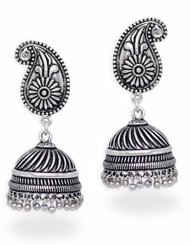 31bd2fd4adeeb Jaipur Mart Silver Tone Oxidised Designer Jhumki Jhumka Earrings For Women  Brass Jhumki Earring