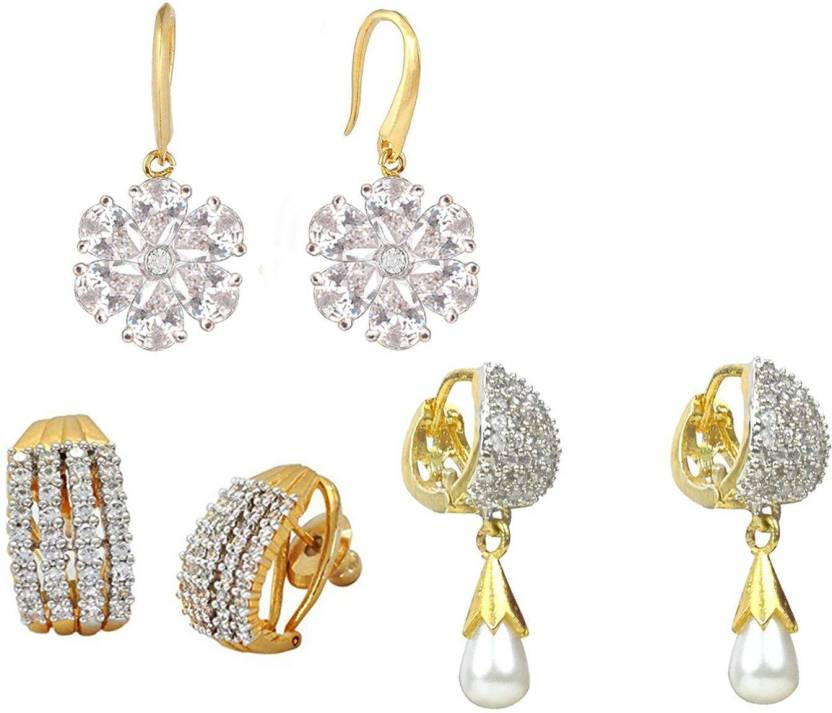 Sitashi Fashion Jewelry Gold Plated American Diamond Zircon And Crystal Stone Ear Rings Combo For S Women Cubic Zirconia Alloy Copper