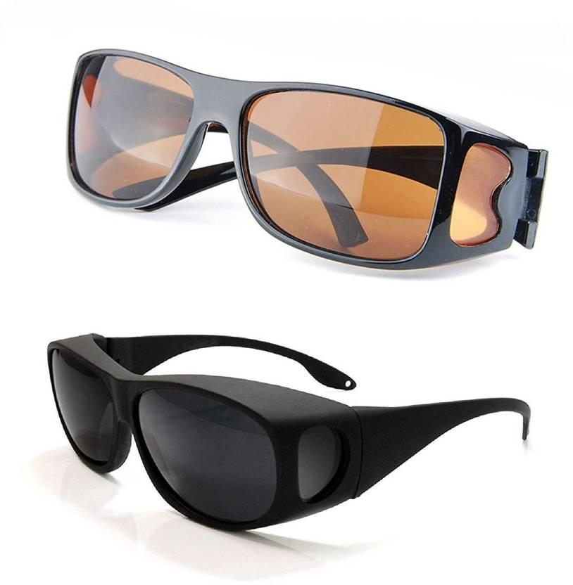 36c003b545 Flipco 2-HD-Vision-Sunglasses Night-Vision-Glasses Cricket Goggles  Motorcycle Goggles Motorcycle Goggles (Black)