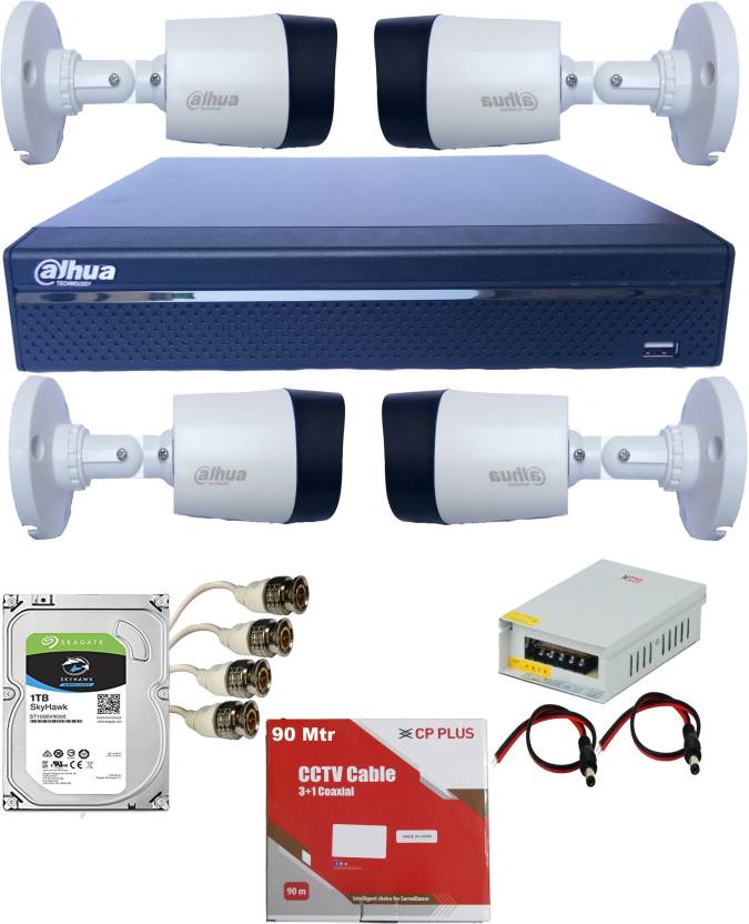 Dahua 4 Channel 2 MegaPixel Outdoor CCTV Camera Combo Set