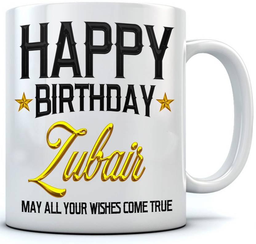 Ramposh Happy Birthday Zubair Name Printed Ceramic Coffee 350 Ml Best Gift For Birthaday