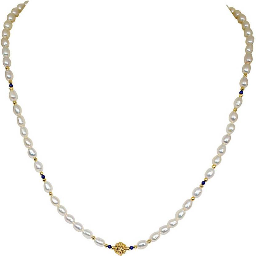 5f4f110b02 SURAT DIAMONDS Surat Diamond Single Line Real Pearl Necklace with Blue  Lapiz & Gold Plated Ball & Beads Pearl, Lapis Lazuli Metal Necklace Price  in India ...