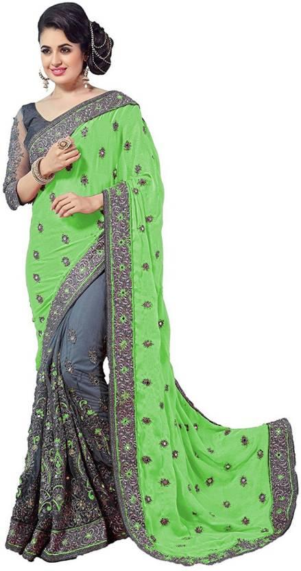 57dd05c4d5 IndianEfashion Self Design, Embroidered, Temple Border Bollywood Georgette,  Chiffon Saree (Green, Grey)